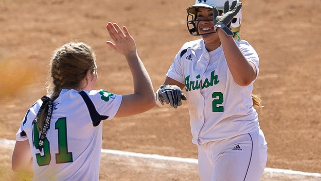 Notre Dame Figihting Irish' Micaela Arizmendi (right) gets a high five from teammate Cassidy Whidden after scoring a double  during The Mary Nutter Collegiate Classic held at Big League Dreams in Cathedral City on Sunday morning, February 23, 2014.  Photo by Gerry Maceda, Special to The Desert Sun