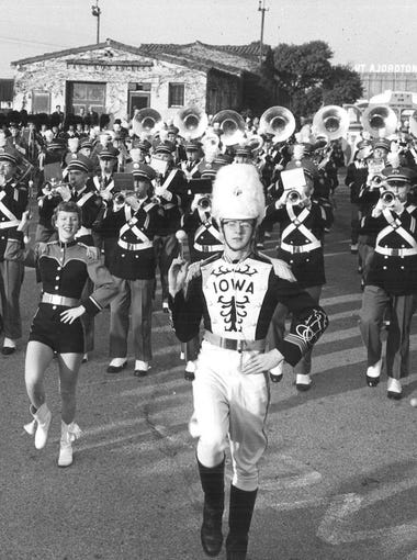 The University of Iowa marching band gets ready for the Rose Bowl parade on Dec. 31, 1956.
