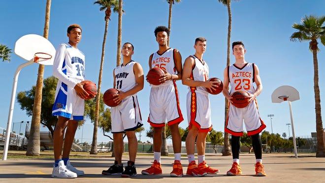 All-Arizona boys basketball players, from left: Craig Randall, Shadow Mountain High; Markus Howard, Perry High; Marvin Bagley III, Corona del Sol; Dane Kuiper, Corona del Sol; and Alex Barcello, Corona del Sol.