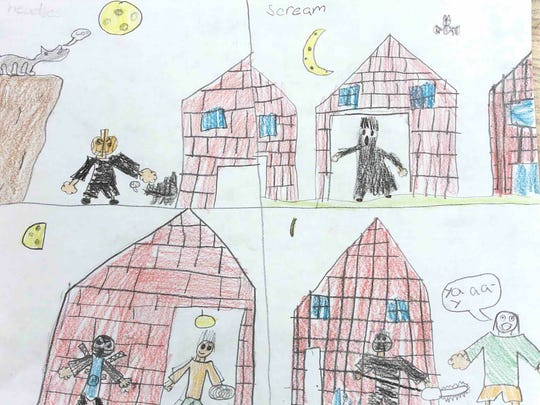 This year for Halloween I'm going to be a ninja robot because I get to have a sword. I get ot be able to talk with a sound button. Last year I was Scream. I got a lot of candy, and I ate all of it. Evan, grade 3 St. Joseph School