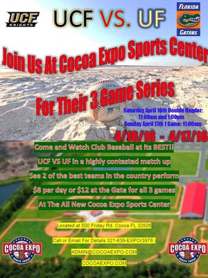 Florida will play UCF at Cocoa Expo on April 16-17.