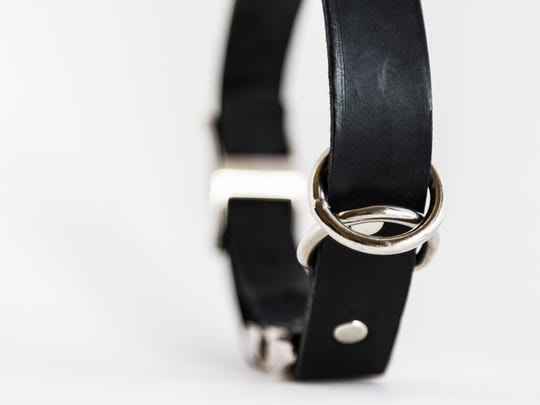 Black leather Latigo collar with chrome hardware.
