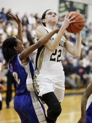 Buffalo Gap's Leah Calhoun goes up to shoot as Brunswick's
