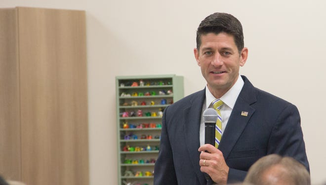 House Speaker Paul Ryan speaks to students, staff, and school board members at New Berlin Eisenhower Middle/High School Sept. 18.