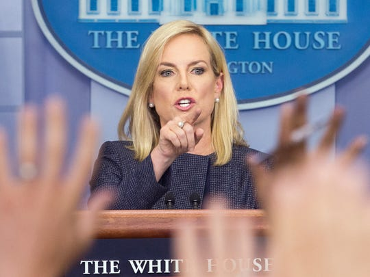 "Department of Homeland Security Secretary Kirstjen Nielsen participates in a news conference at the White House in which she faced questions on the Trump administration's ""zero tolerance"" immigration policy on June 18, 2018."