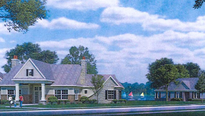An architectural rendering shows what apartments and a club house will look like in the future Encore Village development in Brighton Township.