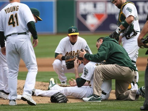 September 5, 2012; Oakland, CA, USA; Oakland Athletics players and staff surround starting pitcher Brandon McCarthy (32) after being hit in the head on a line drive by Los Angeles Angels shortstop Erick Aybar (not pictured)during the fourth inning at