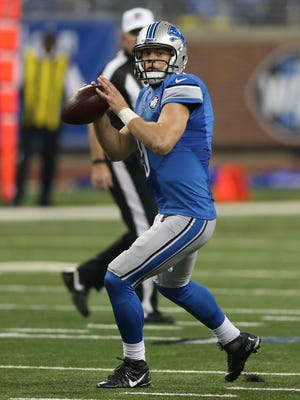 Detroit Lions quarterback Matthew Stafford passes against the San Francisco 49ers on Dec. 27, 2015, at Ford Field in Detroit.