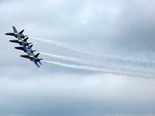 The Blue Angels practice  at the Willow Run Airport in Ypsilanti, Thursday, August 27, 2015 for the Thunder Over Michigan show that will be held on August 29h and 30th.