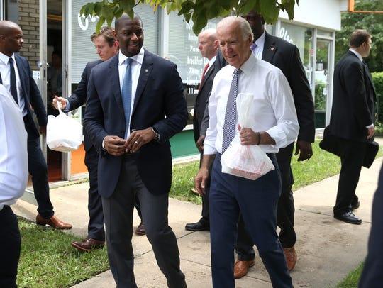 Vice President Joe Biden and Mayor Andrew Gillum visit