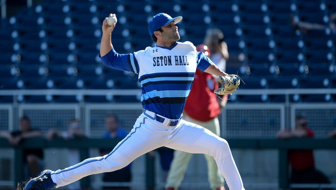 Seton Hall right-hander Andrew Politi of Long Valley pitches in the eighth inning against St. John's  during the 2017 Big East Baseball Championship at TD Ameritrade Park in Omaha, Nebraska.