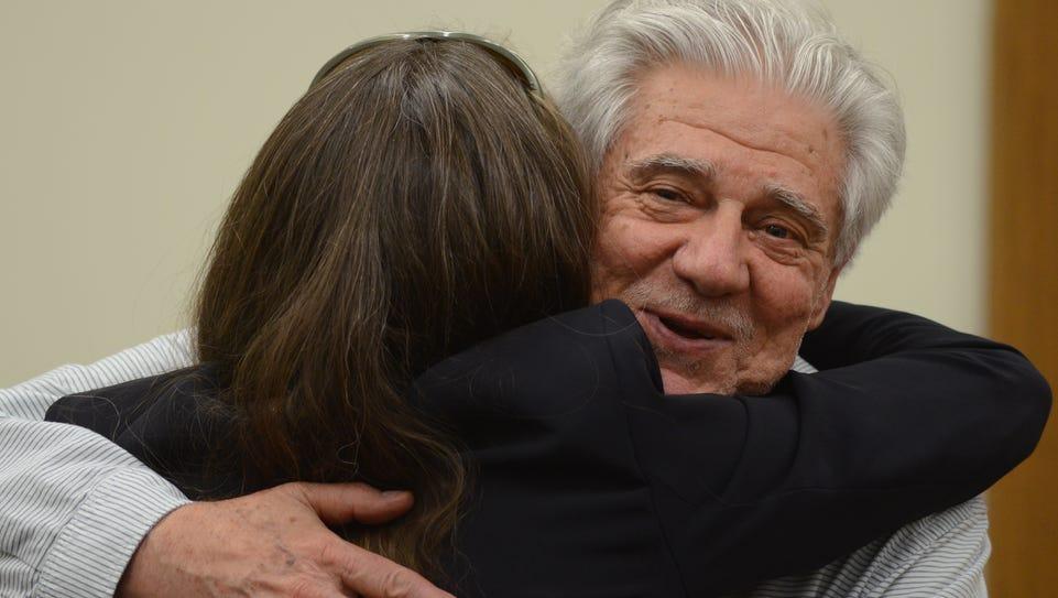 Wayne Burgarello, 74, of Sparks hugs an acquaintance