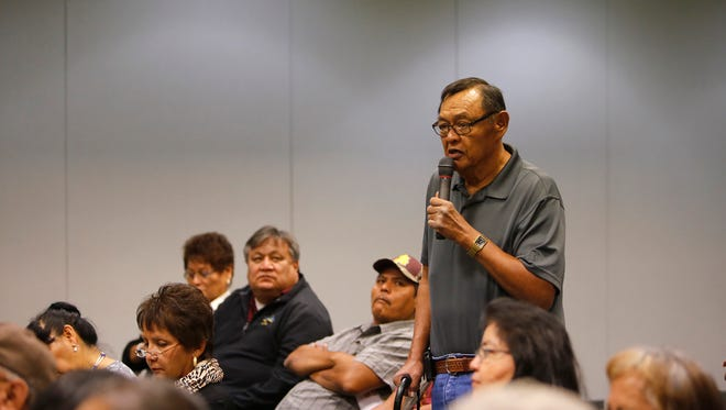 Ralph Atcitty, a representative of the Shiprock Youth Home, tells state lawmakers the facility needs state funding to complete its design phase on Tuesday during a meeting at San Juan College in Farmington.