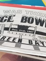 "An ""I was there at the Ice Bowl"" sign."