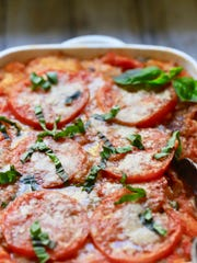 Easy Baked Fresh Tomato Casserole ready to serve.