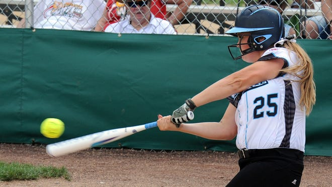 Designated Hitter for Delaware's District 3 Senior League Jordyn Virden connects as the Senior League and Big League Softball World Series got underway on Sunday, July 31 in Roxana. District 3 lost the opener in extras.