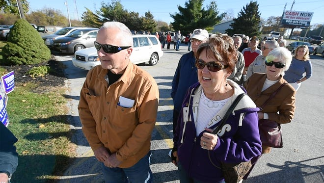 Fred and Joann Shipley are at the front of the line at the Jackson Township #2 polling place at the Lincoln Fire Co. on Election Day Monday November 8, 2016