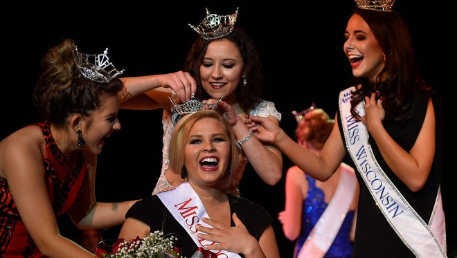 Susan Fochs, daughter of Donald and Barbara Fochs of Egg Harbor, was crowned Miss Door County 2017 during the 21st annual Miss Door County Pageant at Southern Door Community Auditorium on Saturday. Attending to the new Miss Door County are former Door County Outstanding Teen Gracen Spritka, from left, former Miss Door County Hope Copiskey and Miss Wisconsin 2016 Courtney Pelot of Manitowoc. To see a photo gallery of the pageant, go to www.doorcountyadvocate.com.