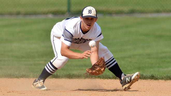 Dallastown shortstop Tye Golden fields one of several State College grounders he turned over for outs during the PIAA Class 6-A baseball semifinals, Monday, June 12, 2017. The Wildcats will face Pennsbury in Friday's state championship game. John A. Pavoncello photo