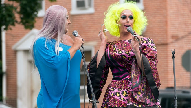 Lizzie Beamont, left, and Betty Whitecastle emceed the York Equality Fest at Penn Park in York.