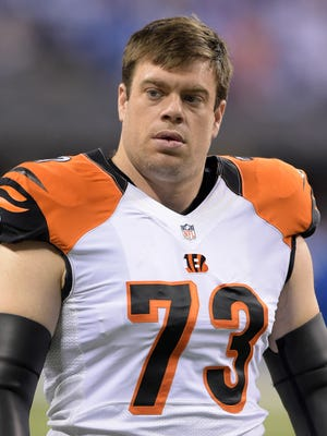 Cincinnati Bengals offensive tackle Eric Winston (73) during the 2014 AFC Wild Card playoff football game against the Indianapolis Colts at Lucas Oil Stadium.
