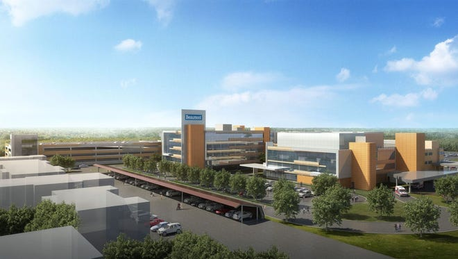 An architectural rendering of the future Beaumont Hospital, Farmington Hills.