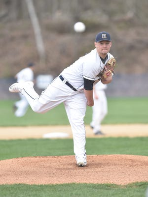 Highland's Paul Hansut warms up during Friday's game versus Red Hook at Tony Williams Park.