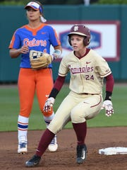 FSU freshman utility Sydney Sherrill (24) getting to