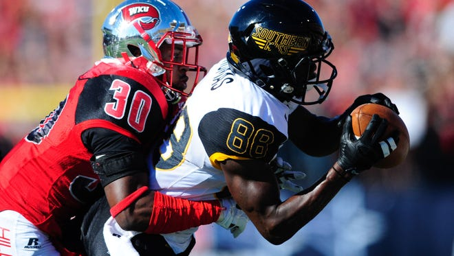 Southern Miss' Mike Thomas broke the school record for receiving yards (1,201) and has 12 touchdowns.
