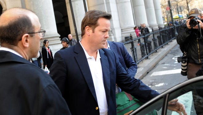 File photo taken in 2016 shows former Wall Street executive Andrew Caspersen leaving federal court in New York City after he was charged with securities fraud and wire fraud.