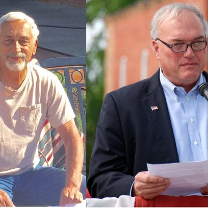 Jim Snedden, left, is challenging Licking County Commissioner
