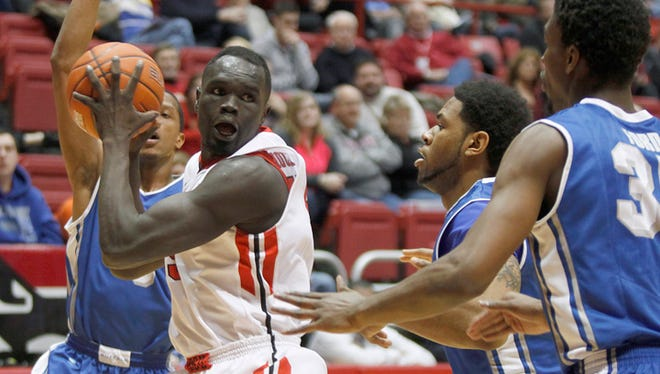 FILE - Ball State's Majok Majok, shown here Jan. 23, scored a team-high 15 points in the Cardinals' loss to Akron Wednesday night.