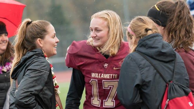 Willamette University's KayLyn Stirton joined the Bearcats' football program late in the 2017 season.