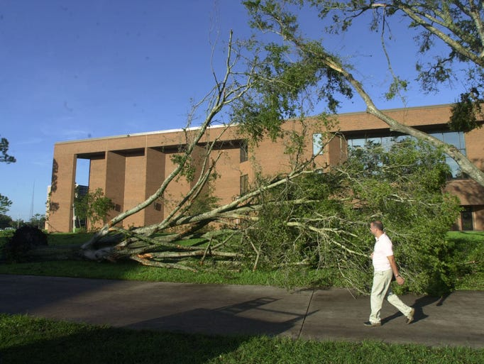 Campus destruction after Hurricane Charley swept through