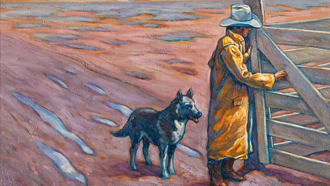 """""""Stormy Monday,"""" an acrylic painting by Howard Post, is part of """"Dogs: Faithful and True"""" at the Eiteljorg Museum of American Indians and Western Art."""