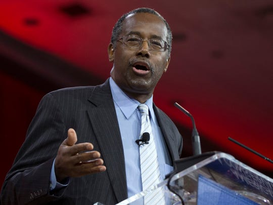 In this Feb. 26, 2015 file photo, Ben Carson speaks at the Conservative Political Action Conference in National Harbor, Md.