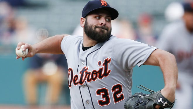 Michael Fulmer pitches against the Indians during the first inning April 12 in Cleveland.