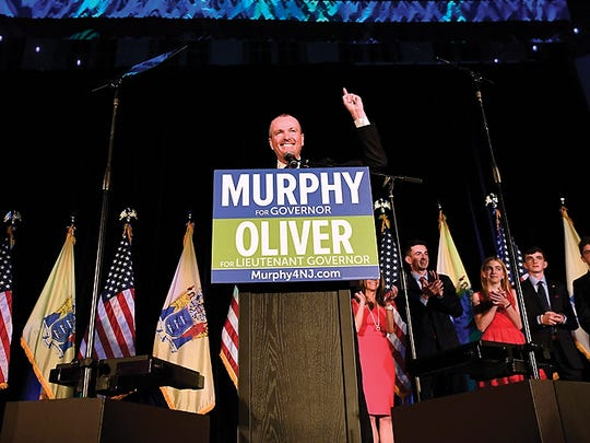 Democrat Phil Murphy gives his victory speech after winning the race for governor of New Jersey at the Asbury Park Convention Hall. (Danielle Parhizkaran/@danielleparhiz)