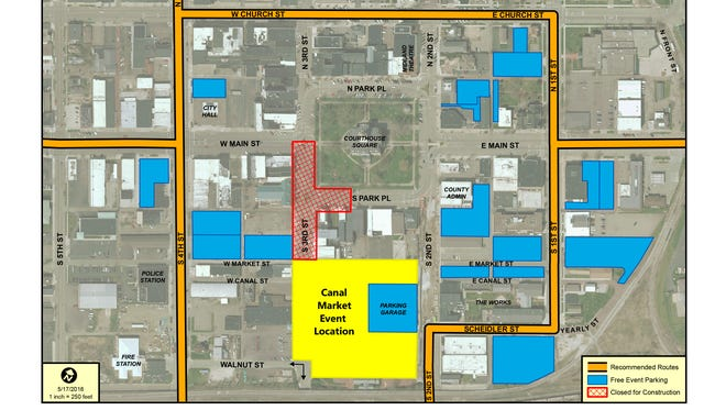 Areas marked in blue are recommended parking for those attending the Canal Market District Dedication Event on from 6 - 10 p.m. on Friday, May 27.