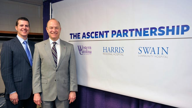 Left,Harris Regional and Swain Community hospitals CEO Steve Heatherly stands next to WCU Chancellor David Belcher after announcing the Ascent Partnership