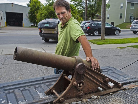 Kip de Moll, who had a cannon stolen from his home in Burlington last week, had it returned to him at Conant Metal and Light on Tuesday, August 4, 2015. The business bought the cannon from a man and then realized it was stolen after seeing a story about the theft in the Burlington Free Press.
