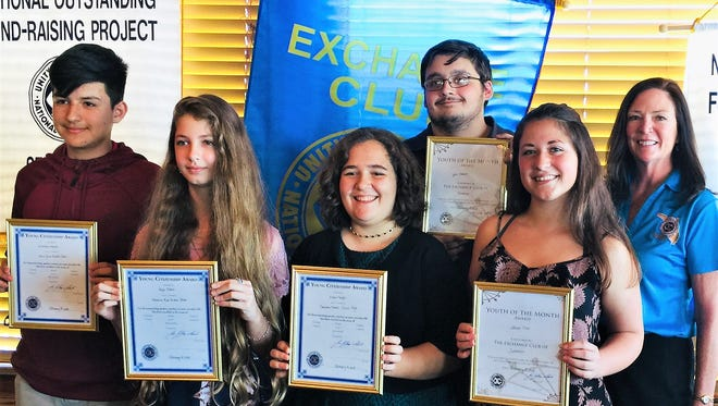 The Exchange Club of Sebastian's February Students of the Month are, from left, Nikolas Magana of  Storm Grove Middle School, Paige Sharek from Sebastian River Middle School, Emma Fuegel of Sebastian Charter Junior High School, Tyler Albert and Allison Claro, both of Sebastian River High School, with Leigh Swanson, Sebastian Exchange Club student coordinator. For a complete story, go to TCPalm.com/Luminaries
