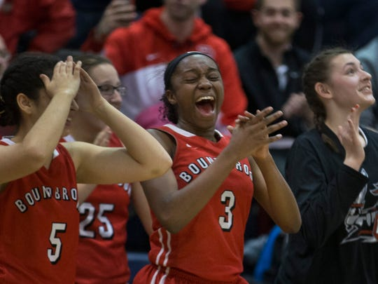 Bound Brook celebrates as the clock runs out on their victory. Bound Brook vs University in Public Group 1 Girls Basketball Final in Toms River NJ, on March 12, 2017.
