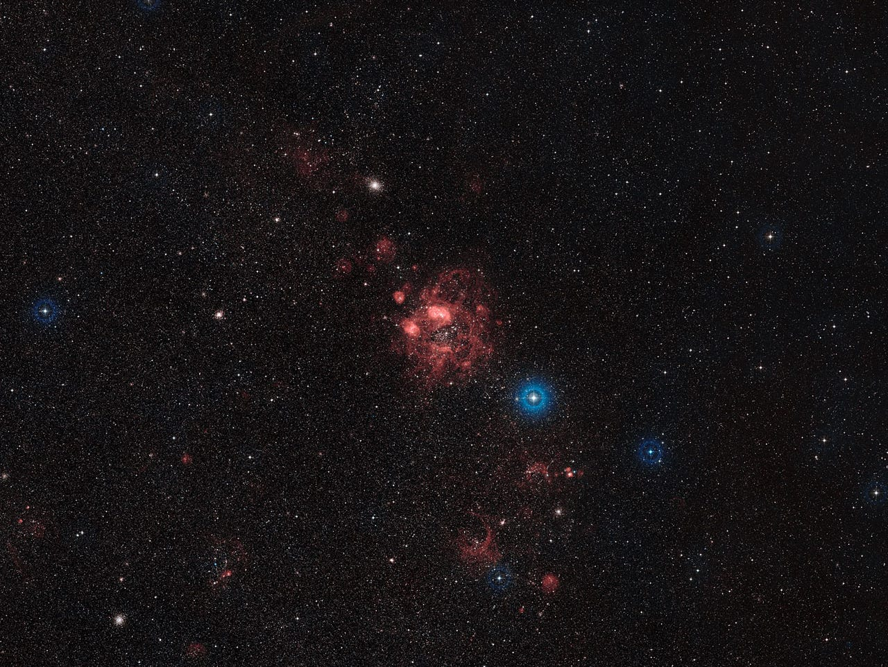 A wide field view of part of the Large Magellanic Cloud, including the N11 star-formation region.