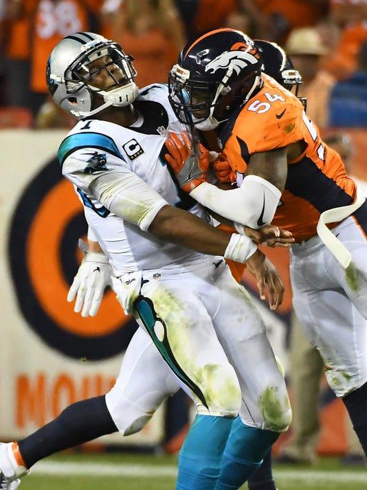 2a271dc73a8 USP NFL  CAROLINA PANTHERS AT DENVER BRONCOS S FBN USA CO. Denver Broncos  inside linebacker Brandon Marshall ...