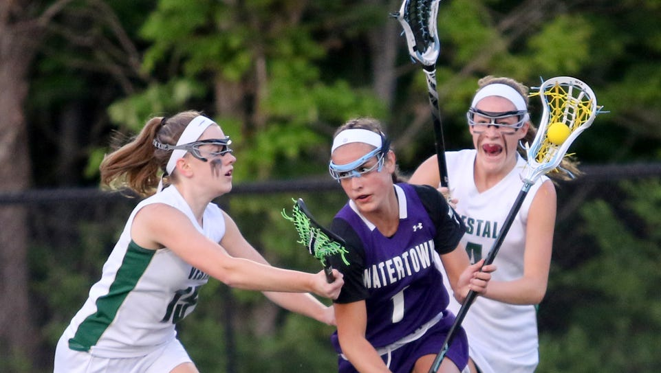 Watertown's Olivia Miles controls the ball as Vestal's