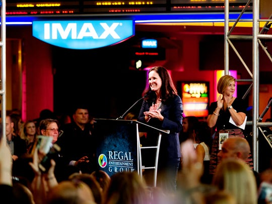Amy Miles, CEO of Regal Entertainment, speaks to the crowd during the Regal Entertainment Group's 2017 red-carpet fundraiser benefiting Variety of East Tennessee at Regal Pinnacle Stadium 18 in Knoxville, Tennessee on Wednesday, August 9, 2017.Variety ChildrenÕs Charity of Eastern Tennessee helps children with disabilities or who are at risk. This year's event featured a visit by actor Channing Tatum.