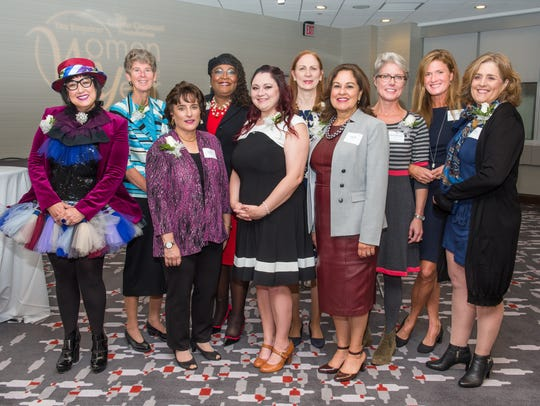 The 2017 Women of the Year: (from left) Pam Kravetz, Sister Sally Duffy, Sandy Kaltman, Karen Bankston, Susan Landis, Jo Martin, Zeinab Schwen, Mimi Mosher Dyer, Lauren Hannan Shafer and Suzy DeYoung.