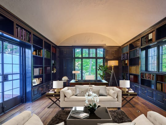 Library in a historic Tudor built by architect Charles Lewis Bowman. The home was once owned by author Sinclair Lewis.