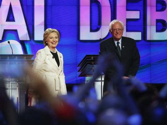Democratic candidates Hillary Clinton and Bernie Sanders